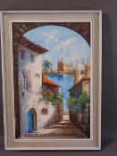 G MUNAR oil on canvas - Continental townscape, 59 x 39cms and an oil on canvas - alpine