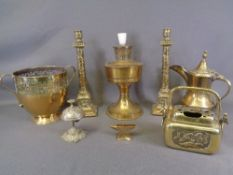 BRASSWARE - Eastern candleholders, a pair, 33cms H, an Eastern jug, swing handled censer and an