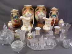 STAFFORDSHIRE VASES - two pairs, Crown Devon jugs and similar items, also slag and cut glassware, an