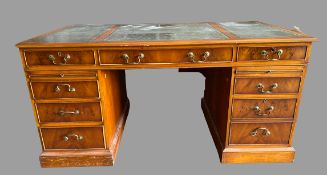 LARGE TWIN PEDESTAL DESK - reproduction yew effect with tooled leather effect top, multi-drawers and