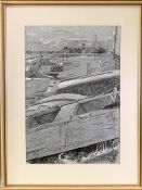 LEONARD RENTON charcoal - boats and river with distant church, initialled and dated 1980, 45 x