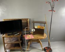 FURNISHINGS PARCEL to include mid Century metallic stick/hat stand, pine Long John table, tea