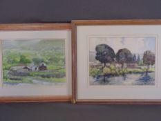 MAURICE A GREENWOOD watercolours, two - farmstead, titled 'Above Llanfairfechan', signed and dated