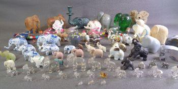 ELEPHANT ORNAMENTS - china, glass, mineral ETC