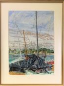 LEONARD RENTON watercolour/mixed media - riverscape with yachting masts etc, initialled and entitled