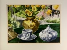 DAVID GROSVENOR watercolour - still life, Willow teaware and a vase with flowers on a table,