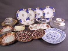 DRESDEN IRONSTONE PLATE, two Royal Crown Derby Imari side plates, vintage Aynsley dessert ware and