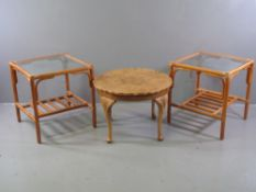 BAMBOO TABLES - a pair with glass tops and lower rack, 54cms H, 52cms W, 52cms D and a burr