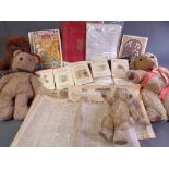 VINTAGE SOFT TOYS - four bears and a quantity of old linen, ephemera ETC
