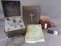 FAMILY BIBLE - 19th Century, leather bound, Pitman's text book, vintage voltage meters ETC