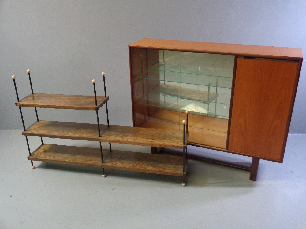 G-PLAN STYLE BOOKCASE CUPBOARD, mid Century having sliding glass doors and a single wooden door,