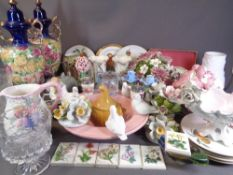 ROYAL WORCESTER oven to tableware plates, Old Foley pair of floral decorated vases and a large