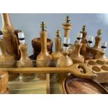 TREEN - fabulous assortment of turned wooden lamp bases and other items of treen