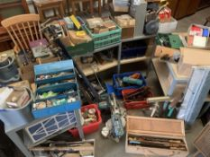 LARGE PARCEL OF GARAGE TOOLS & ASSOCIATED ITEMS including quantity of clamps and sash clamps, a
