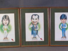 TRIST comical prints - snooker players, circa 1985, 'Embassy Snooker Celebrities - Ray Reardon, Tony