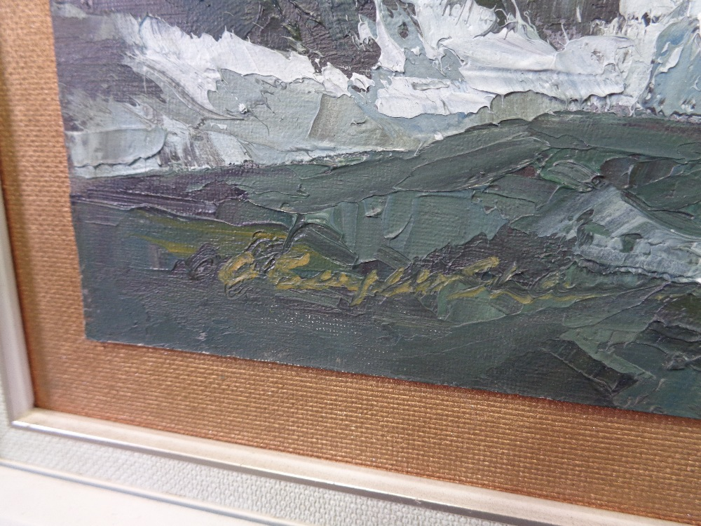 ALFRED BURGESS SHARROCKS oil on board - Anglesey coast under a grey sky, signed left hand side, 34.5 - Image 2 of 3