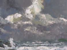 ALFRED BURGESS SHARROCKS oil on board - Anglesey coast under a grey sky, signed left hand side, 34.5