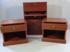 G-PLAN BEDSIDE CHESTS - single drawer, mahogany effect, 50cms H, 54cms W, 39cms D and a modern CD