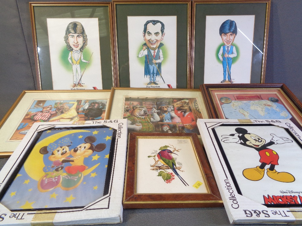 TRIST comical prints - snooker players, circa 1985, 'Embassy Snooker Celebrities - Ray Reardon, Tony - Image 2 of 2