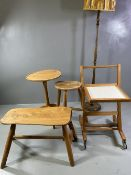 RUSTIC STYLE SHAPED COFFEE TABLE/STOOL on four turned supports, 48cms H, 69cms W, 33cms D, a