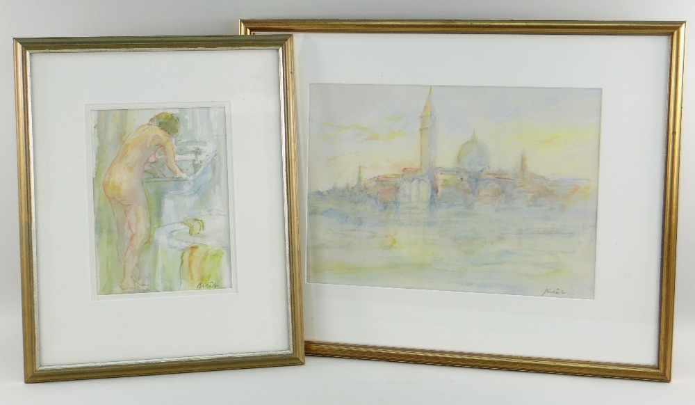ANDRE BICAT (1909-1996) two watercolours - (1) titled on Attic Gallery Swansea label 'Morning