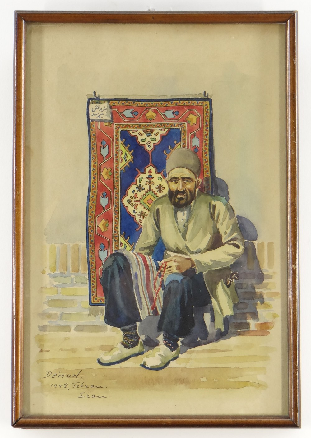 DEMON STUDIO (IRAN) watercolours - four depicting artisans including carpet seller, all signed and - Image 4 of 5