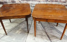 TWO EARLY 19TH CENTURY MAHOGANY GATELEG FOLDOVER TEA TABLES, one with boxwood line inlay, 92cms wide