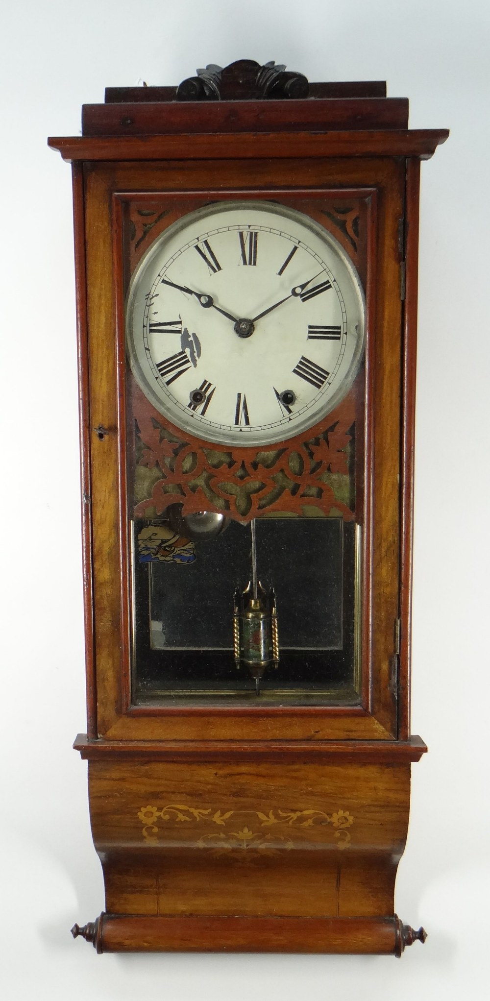 19TH CENTURY AMERICAN WALNUT MARQUETRY DROP DIAL WALL CLOCK, painted Roman dial and brass bobbin