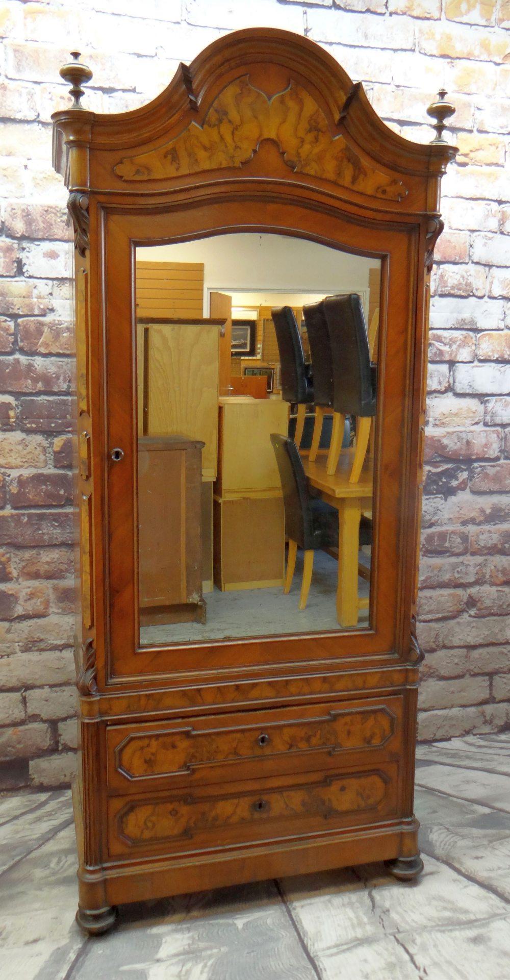 STYLISH FRENCH WALNUT & BURR WALNUT ARMOIRE, arched cornice with turned finials, mirror-glazed