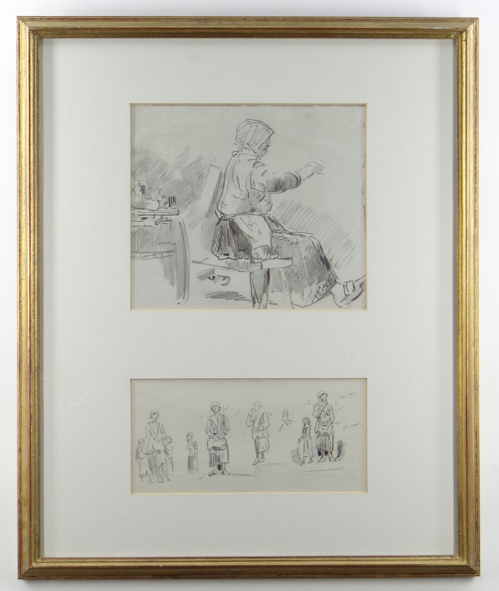 LOUIS MARIE FOUDAQ (French, 1840-1914) pencil - two figurative drawings with annotations, 20 x 22cms