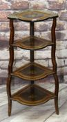 VICTORIAN MARQUETRY CORNER WHATNOT, pierced brass gallery, four tiers, 110cms high Condition: top