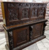 ANTIQUE CARVED OAK SIDE CABINET, decorated with the 17th Century style, the top adapted form a