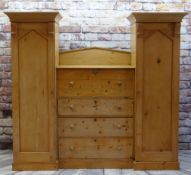 19TH CENTURY STRIPPED PINE COMPENDIUM WARDROBE, central chest section flanked by hanging cupboards