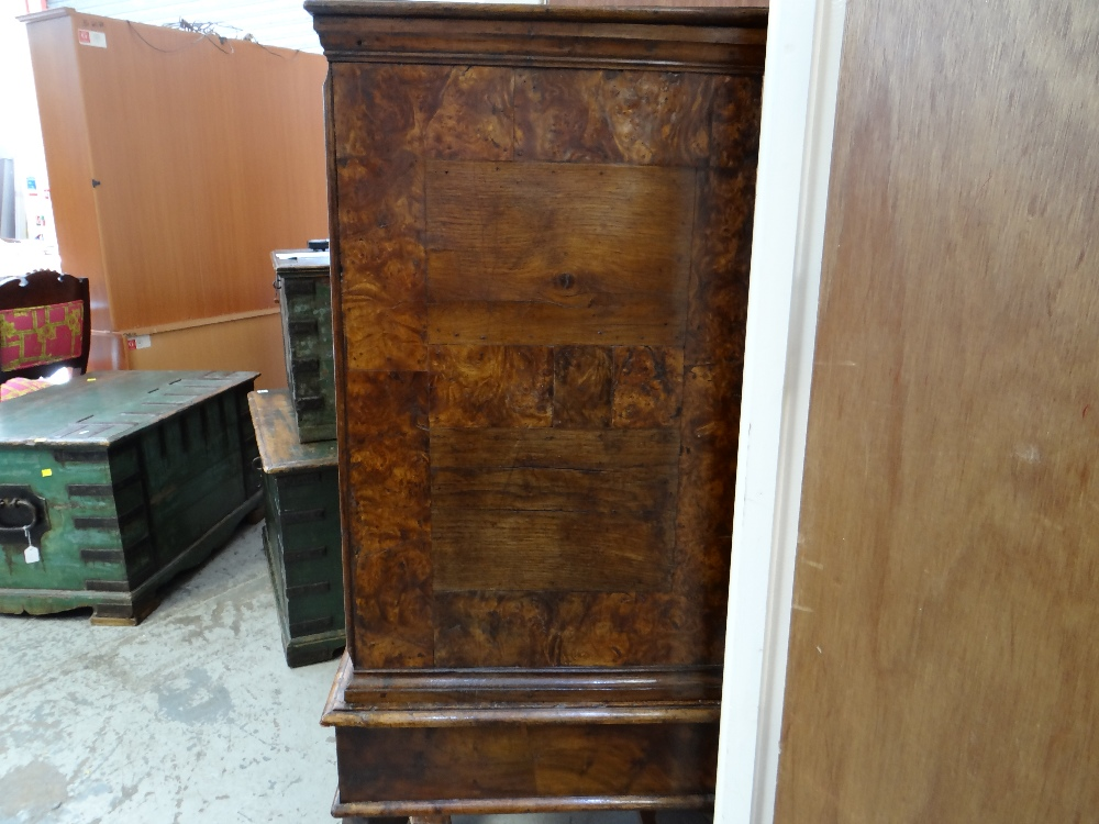 QUEEN ANNE WALNUT & BURR WALNUT CROSSBANDED CHEST ON STAND, veneered top and cornice above two short - Image 19 of 44