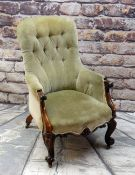 GOOD VICTORIAN ROSEWOOD BUTTON-BACK ARMCHAIR, olive green velour upholstery, foliate carved seat