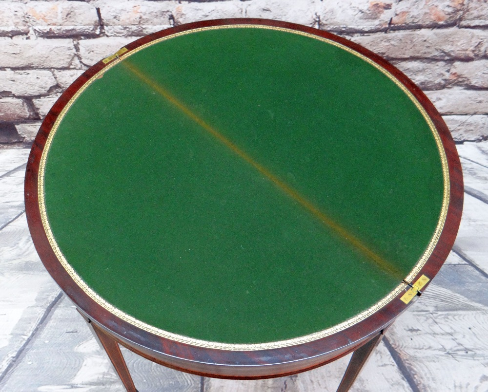 GEORGE III-STYLE MAHOGANY, SATINWOOD CROSSBANDED & BOXWOOD STRUNG CARD TABLE, of demi lune form, - Image 2 of 5