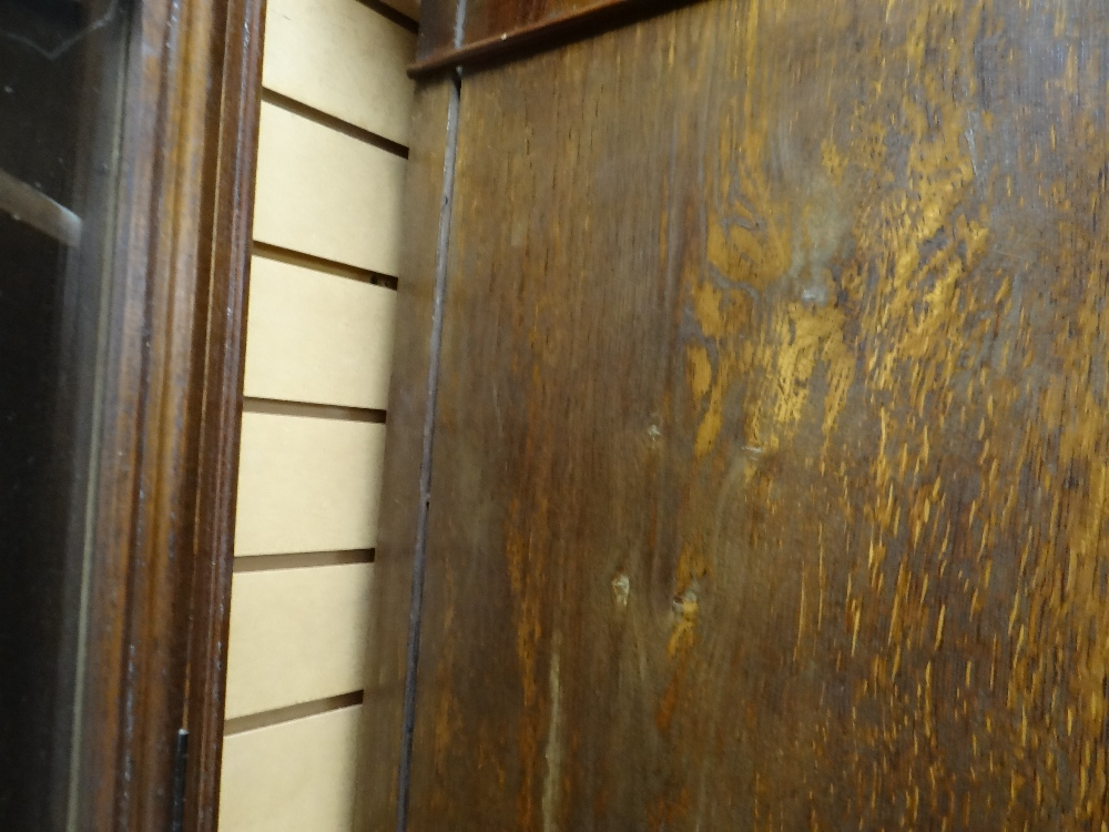 VICTORIAN OAK & MAHOGANY LINEN PRESS, ogee cornice and plain frieze above arched panelled doors, - Image 10 of 13