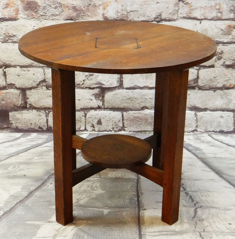 ARTS & CRAFTS LEOPOLD & JOHN GEORGE STICKLEY JOINED OAK TABLE, circular on four uprights joined by
