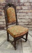 ANTIQUE CARVED OAK SIDE CHAIR, later floral upholstery