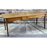 FRENCH FRUITWOOD COUNTRY KITCHEN / DINING TABLE, a boarded top with rounded corners on plain