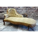 GOOD MID-VICTORIAN WALNUT SERPENTINE CHAISE LONGUE, carved and pierced back with button
