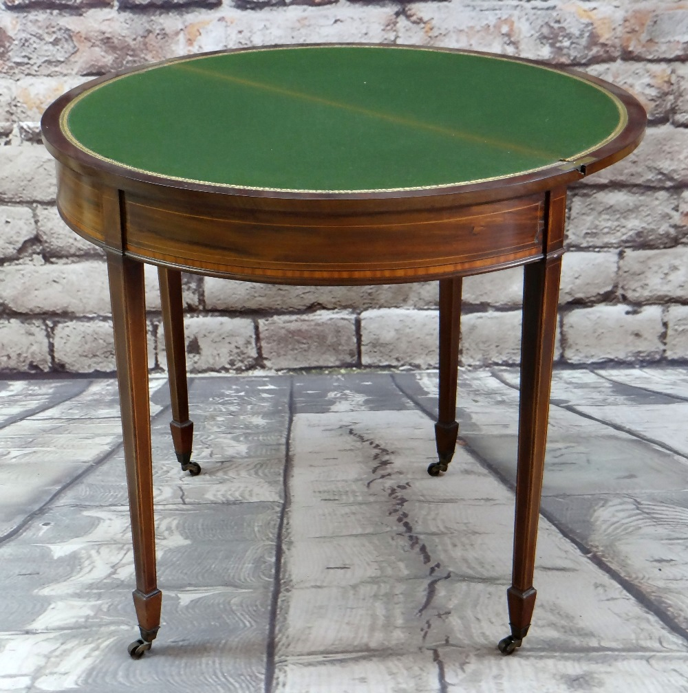 GEORGE III-STYLE MAHOGANY, SATINWOOD CROSSBANDED & BOXWOOD STRUNG CARD TABLE, of demi lune form,