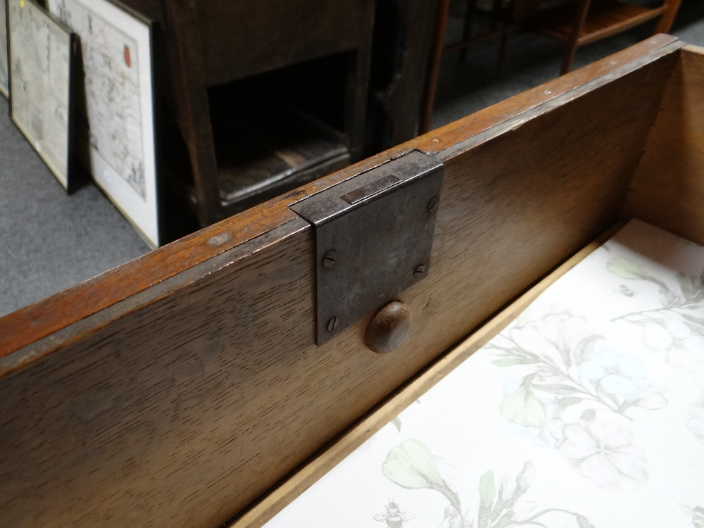 VICTORIAN OAK & MAHOGANY LINEN PRESS, ogee cornice and plain frieze above arched panelled doors, - Image 7 of 13