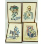 DEMON STUDIO (IRAN) watercolours - four depicting artisans including carpet seller, all signed and