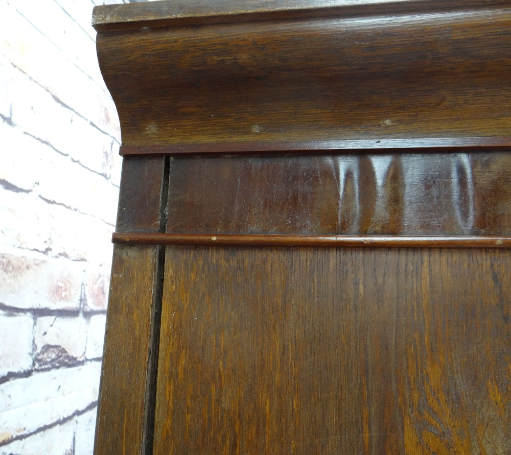 VICTORIAN OAK & MAHOGANY LINEN PRESS, ogee cornice and plain frieze above arched panelled doors, - Image 3 of 13