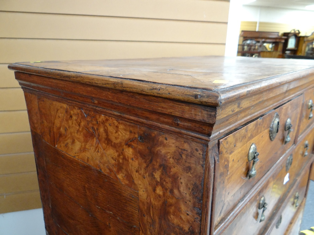 QUEEN ANNE WALNUT & BURR WALNUT CROSSBANDED CHEST ON STAND, veneered top and cornice above two short - Image 15 of 44