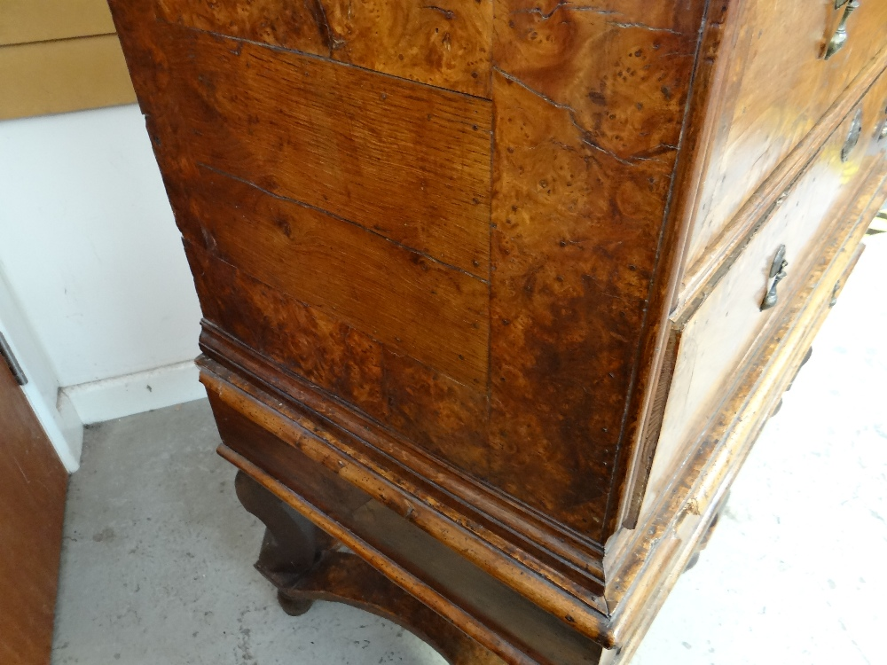 QUEEN ANNE WALNUT & BURR WALNUT CROSSBANDED CHEST ON STAND, veneered top and cornice above two short - Image 16 of 44