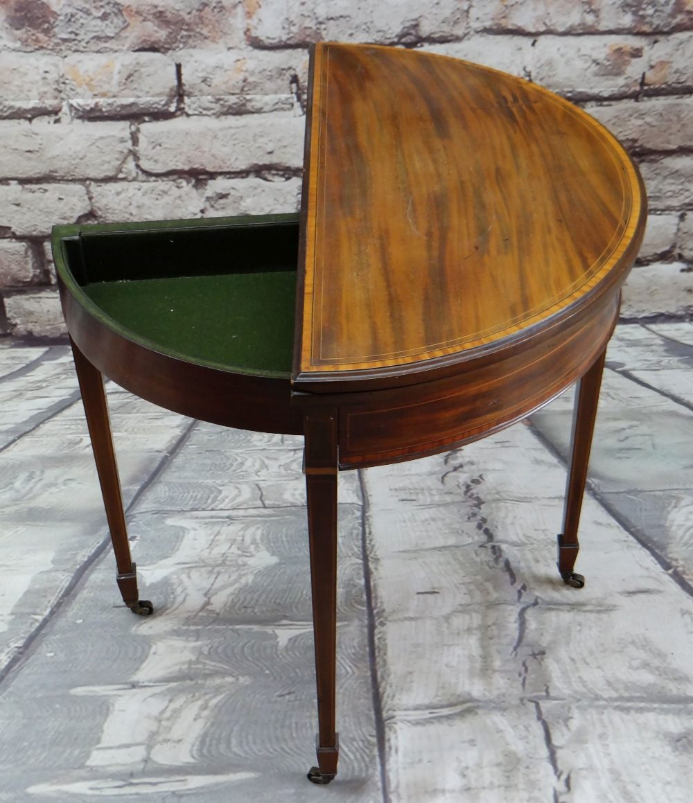 GEORGE III-STYLE MAHOGANY, SATINWOOD CROSSBANDED & BOXWOOD STRUNG CARD TABLE, of demi lune form, - Image 3 of 5