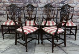 SET OF SIX GEORGIAN-STYLE SHIELD BACK DINING CHAIRS with Prince of Wales feathers carved, pierced
