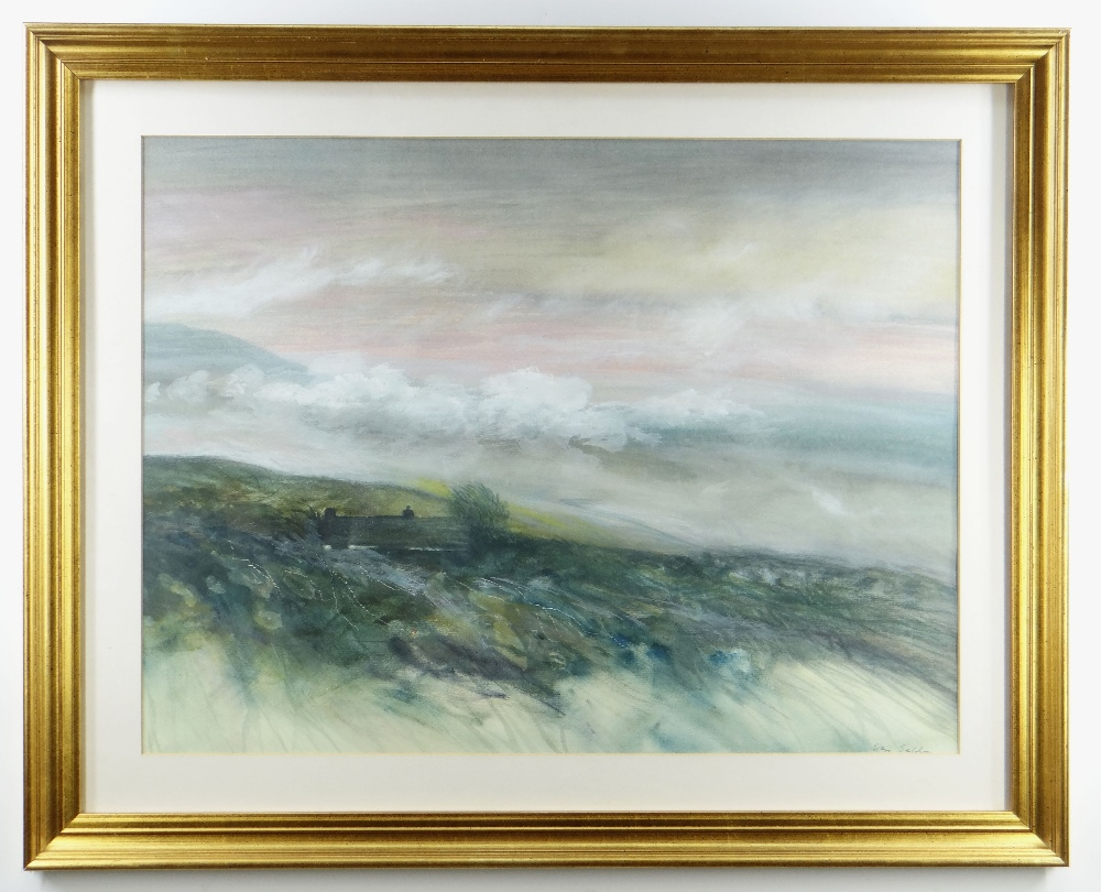 GLEN SELDON watercolour - view of a cottage in a moorland landscape, signed, 45 x 61cms